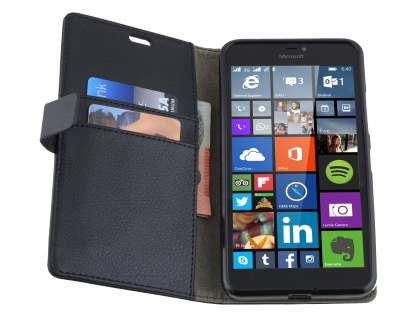 Synthetic Leather Wallet Case for Microsoft Lumia 640 XL - Classic Black