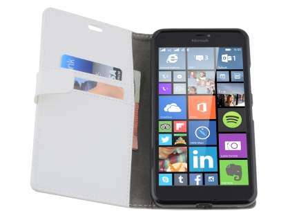 Microsoft Lumia 640 XL Synthetic Leather Wallet Case - Pearl White