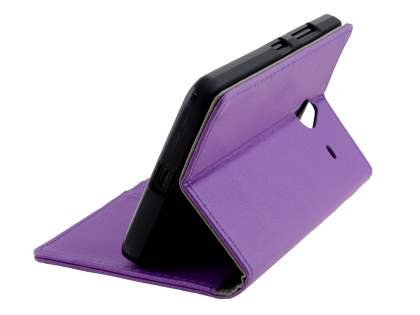 Synthetic Leather Wallet Case for Microsoft Lumia 640 XL - Purple