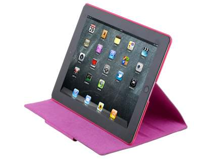Crocodile Pattern Genuine Leather Case for iPad 2/3/4 - Pink Leather Flip Case