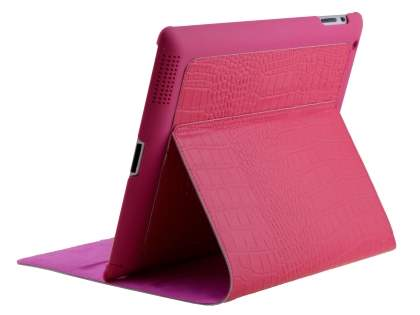 Premium crocodile pattern Genuine leather Case for iPad 2/3/4 - Pink