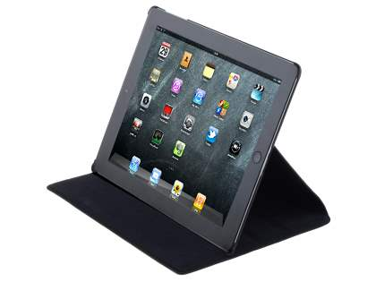 Premium Ultra Slim Genuine Leather Flip Case with Stand for iPad 2 - Classic Black