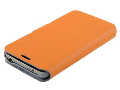 Samsung Galaxy S5 mini Slim Genuine Leather Portfolio Case - Orange