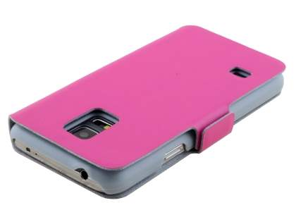 Samsung Galaxy S5 mini Slim Genuine Leather Portfolio Case - Pink
