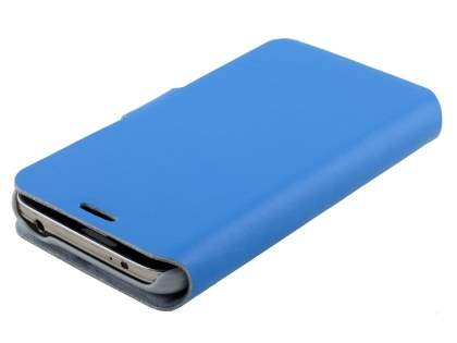 Samsung Galaxy S5 mini Slim Genuine Leather Portfolio Case - Blue