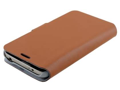 Samsung Galaxy S5 mini Slim Genuine Leather Portfolio Case - Brown