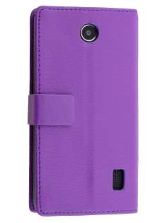 Huawei Y635 Slim Synthetic Leather Wallet Case with Stand - Purple Leather Wallet Case