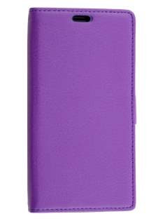 Huawei Y635 Slim Synthetic Leather Wallet Case with Stand - Purple