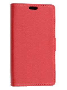 LG Leon Slim Synthetic Leather Wallet Case with Stand - Red