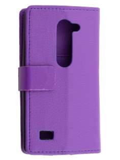 LG Leon Slim Synthetic Leather Wallet Case with Stand - Purple Leather Wallet Case