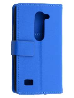 Slim Synthetic Leather Wallet Case with Stand for LG Leon - Blue Leather Wallet Case