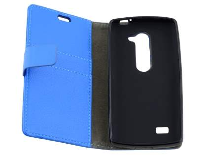 LG Leon Slim Synthetic Leather Wallet Case with Stand - Blue
