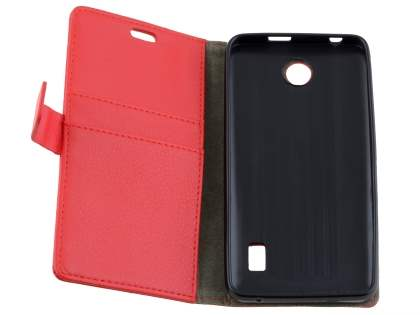 Huawei Y635 Slim Synthetic Leather Wallet Case with Stand - Red