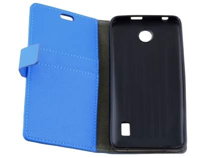 Slim Synthetic Leather Wallet Case with Stand for Huawei Y635 - Blue