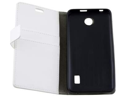 Huawei Y635 Slim Synthetic Leather Wallet Case with Stand - Pearl White