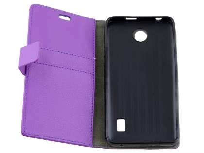 Slim Synthetic Leather Wallet Case with Stand for Huawei Y635 - Purple
