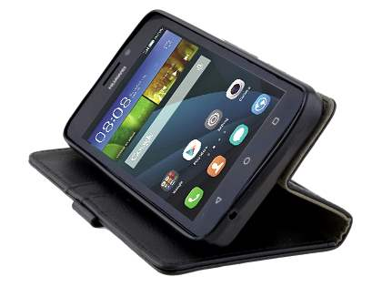 Huawei Y635 Slim Synthetic Leather Wallet Case with Stand - Classic Black