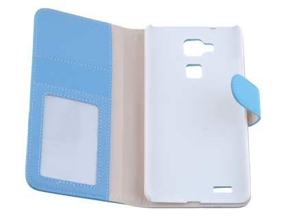 Huawei Ascend Mate7 Synthetic Leather Wallet Case with Stand - Sky Blue