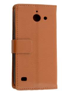 Slim Synthetic Leather Wallet Case with Stand for Huawei Ascend Y550 - Brown Leather Wallet Case