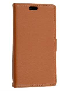 Slim Synthetic Leather Wallet Case with Stand for Huawei Ascend Y550 - Brown