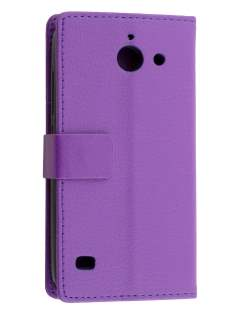 Slim Synthetic Leather Wallet Case with Stand for Huawei Ascend Y550 - Purple Leather Wallet Case