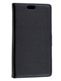 Huawei Ascend Y550 Slim Synthetic Leather Wallet Case with Stand - Classic Black