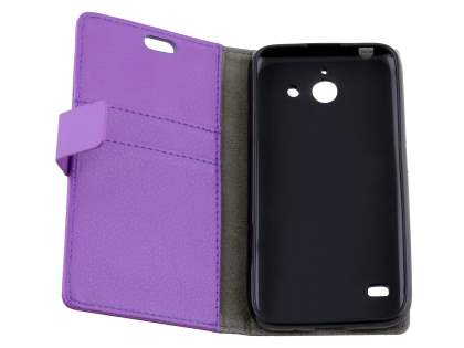Huawei Ascend Y550 Slim Synthetic Leather Wallet Case with Stand - Purple