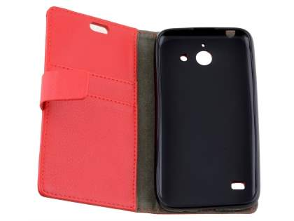 Slim Synthetic Leather Wallet Case with Stand for Huawei Ascend Y550 - Red