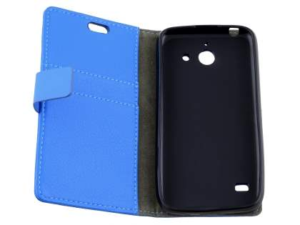Slim Synthetic Leather Wallet Case with Stand for Huawei Ascend Y550 - Blue