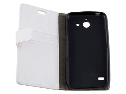 Huawei Ascend Y550 Slim Synthetic Leather Wallet Case with Stand - Pearl White