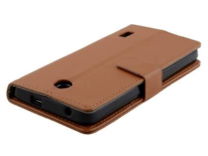Huawei Y635 Slim Synthetic Leather Wallet Case with Stand - Brown