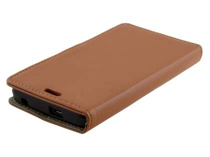 Slim Synthetic Leather Wallet Case with Stand for Huawei Y635 - Brown