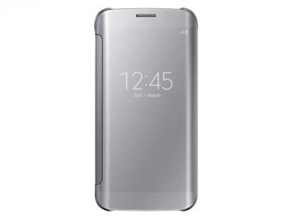 Genuine Samsung Galaxy S6 Edge Clear View Cover - Silver S View Cover