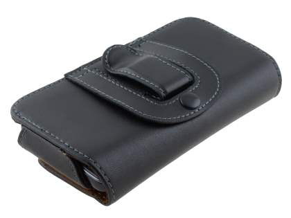 Extra-tough Genuine Leather ShineColors belt pouch for Sony Xperia J ST26i - Classic Black