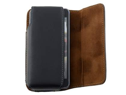 Extra-tough Genuine Leather ShineColours belt pouch for HTC One V - Classic Black