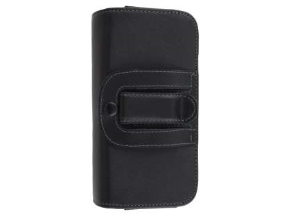 Extra-tough Genuine Leather ShineColours belt pouch for HTC Desire 820 - Classic Black