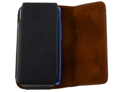 Extra-tough Genuine Leather belt pouch (Bumper Case Compatible) for Huawei Ascend Y520