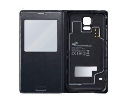 Genuine Samsung Galaxy S5 Wireless Charging S-View Flip Cover - Black S View Cover for Samsung
