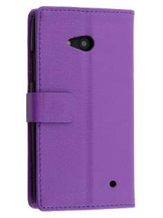Microsoft Lumia 640 Slim Synthetic Leather Wallet Case with Stand - Purple