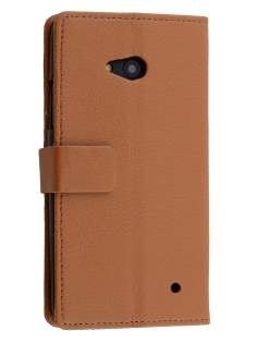 Slim Synthetic Leather Wallet Case with Stand for Microsoft Lumia 640 - Brown Leather Wallet Case