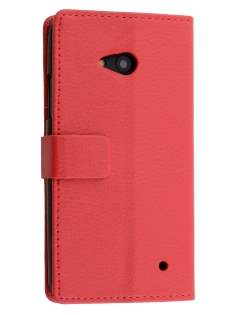 Slim Synthetic Leather Wallet Case with Stand for Microsoft Lumia 640 - Red Leather Wallet Case