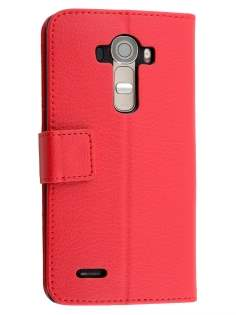 LG G4 Slim Synthetic Leather Wallet Case with Stand - Red Leather Wallet Case