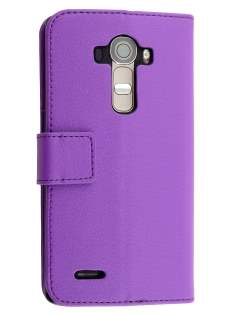 LG G4 Slim Synthetic Leather Wallet Case with Stand - Purple Leather Wallet Case