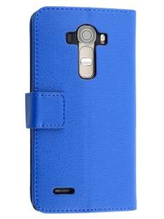 LG G4 Slim Synthetic Leather Wallet Case with Stand - Blue Leather Wallet Case