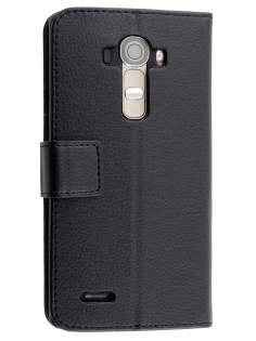 LG G4 Slim Synthetic Leather Wallet Case with Stand - Classic Black Leather Wallet Case