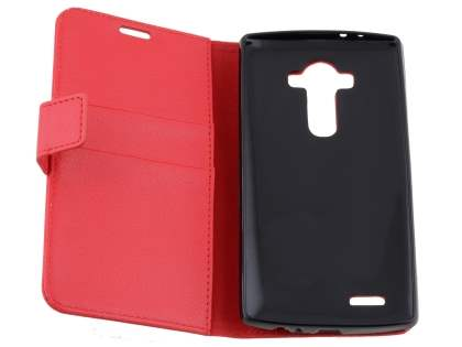 Slim Synthetic Leather Wallet Case with Stand for LG G4 - Red