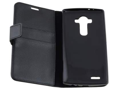 Slim Synthetic Leather Wallet Case with Stand for LG G4 - Classic Black