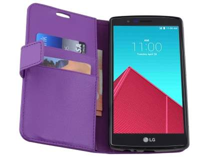 LG G4 Slim Synthetic Leather Wallet Case with Stand - Purple