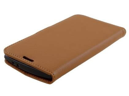 LG G4 Slim Synthetic Leather Wallet Case with Stand - Brown
