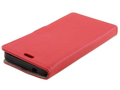 Slim Synthetic Leather Wallet Case with Stand for Microsoft Lumia 640 - Red